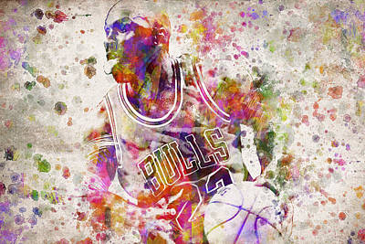 Michael Jordan In Color Poster by Aged Pixel