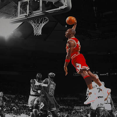 Michael Jordan Tongue Out Cradle Dunk Poster