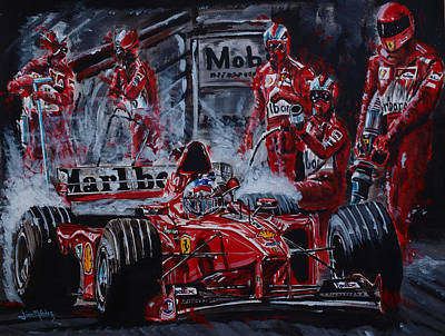 Michael Schumacher Out Of The Darkness Poster by Juan Mendez