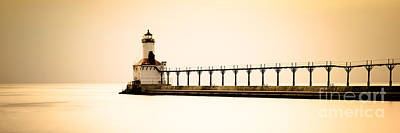 Michigan City Lighthouse At Sunset Panorama Picture Poster by Paul Velgos