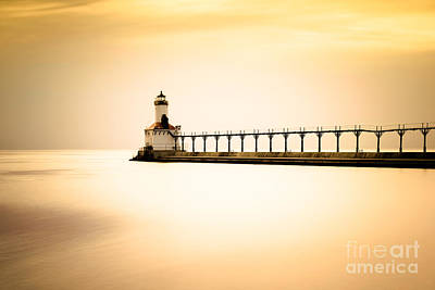 Michigan City Lighthouse At Sunset Picture Poster by Paul Velgos