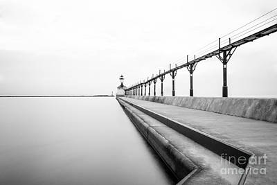 Michigan City Lighthouse Black And White Photo Poster by Paul Velgos