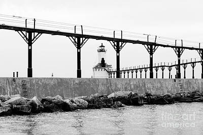Michigan City Lighthouse Black And White Picture Poster by Paul Velgos