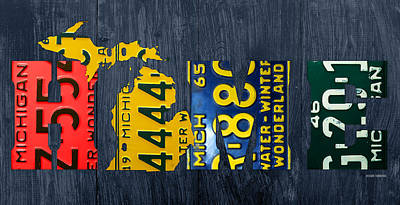 Michigan Home Recycled Vintage License Plate Art State Shape Lettering Phrase Poster by Design Turnpike
