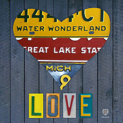 Michigan Love Heart License Plate Art Series On Wood Boards Poster by Design Turnpike