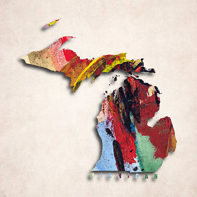 Michigan Map Art - Painted Map Of Michigan Poster by World Art Prints And Designs