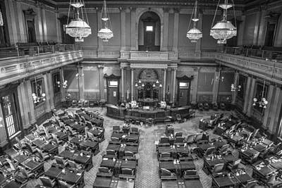 Michigan Tate Senate Black And White From Above Poster by John McGraw