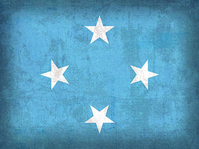 Micronesia Flag Vintage Distressed Finish Poster by Design Turnpike