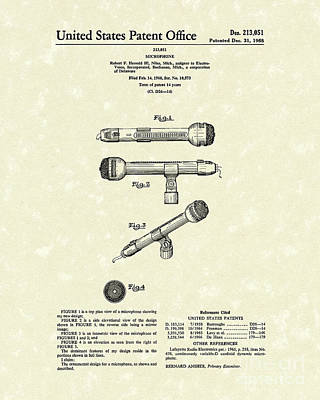 Microphone 1968 Patent Art Poster