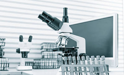Microscope And Computer Poster