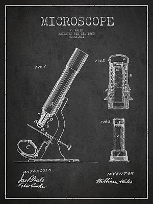 Microscope Patent Drawing From 1865 - Dark Poster