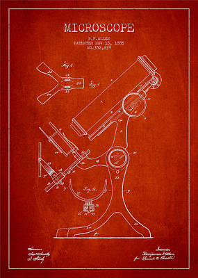 Microscope Patent Drawing From 1886 - Red Poster