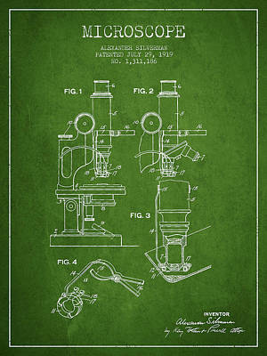 Microscope Patent Drawing From 1919- Green Poster by Aged Pixel