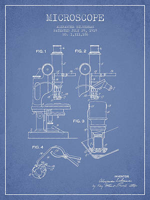 Microscope Patent Drawing From 1919- Light Blue Poster