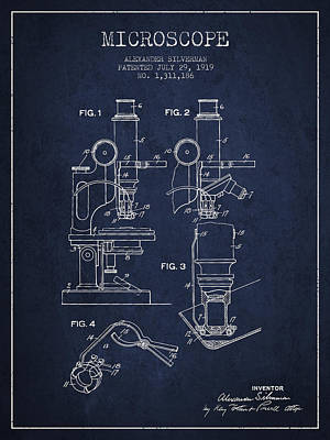 Microscope Patent Drawing From 1919- Navy Blue Poster by Aged Pixel