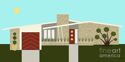 Mid Century Modern House 3 Poster by Donna Mibus
