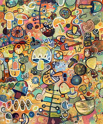 Mid Century Mushroom Madness Poster by Jen Norton