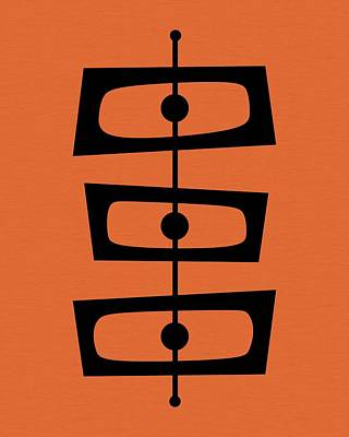 Mid Century Shapes On Orange Poster by Donna Mibus