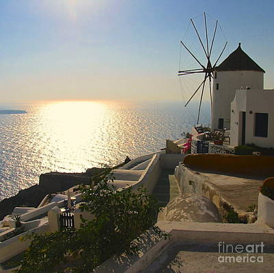 Midday On Santorini Poster by Suzanne Oesterling