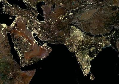 Middle East And India At Night Poster by Planetobserver