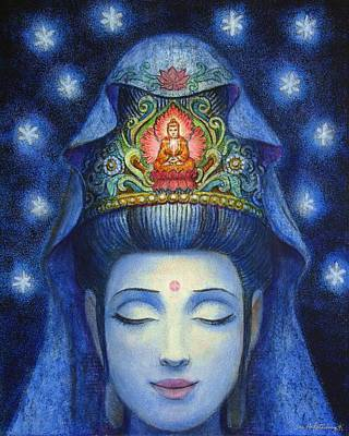 Poster featuring the painting Midnight Meditation Kuan Yin by Sue Halstenberg