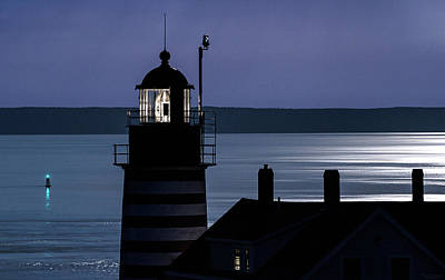 Midnight Moonlight On West Quoddy Head Lighthouse Poster by Marty Saccone
