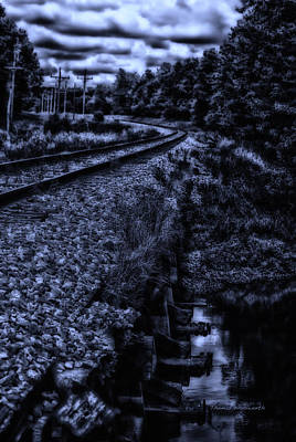 Midnight On A Railroad Curve Poster