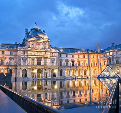 Midnight Reflection At The Louvre Poster