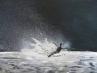 Midnight Ski Poster by Eric Johansen