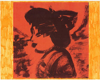Poster featuring the painting Midori The Geisha by Don Koester