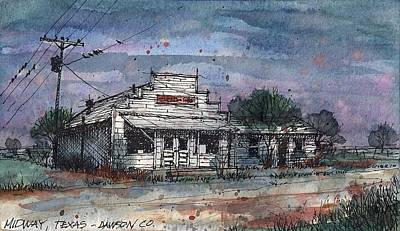 Poster featuring the mixed media Midway Texas Grocery by Tim Oliver