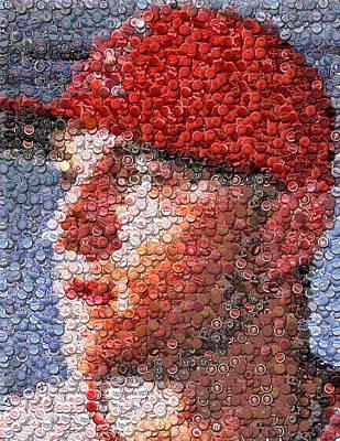 Mike Trout Bottle Cap Mosaic Poster