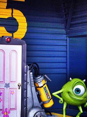 Mike With Boo's Door - Monsters Inc. In Disneyland Paris Poster by Marianna Mills