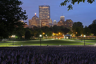 Military Heroes Garden Of American Flags In The Boston Common Poster