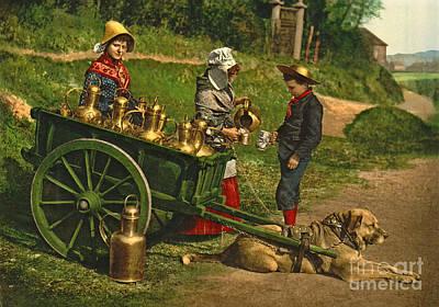 Milk Sellers Brussels Belgium 1890 Poster by Padre Art