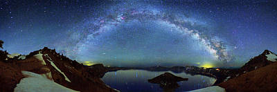 Milky Way Over Crater Lake Poster