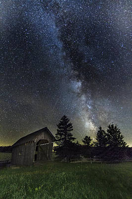 Milky Way Over Foster Covered Bridge Poster