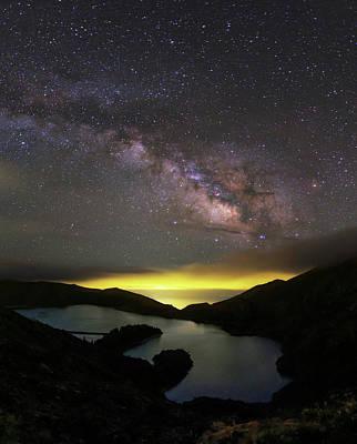 Milky Way Over Lagoa Do Fogo Poster