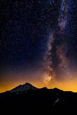 Milky Way Over Mount Baker Poster