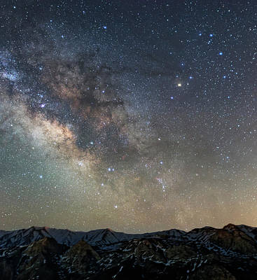 Milky Way Over Mountains Poster