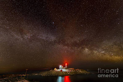 Milky Way Over Nubble Light Poster by Jim Block