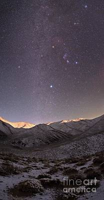 Milky Way Over Snow-covered Mountains Poster