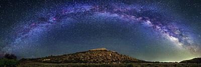 Milky Way Over Tuzigoot Ruins Poster