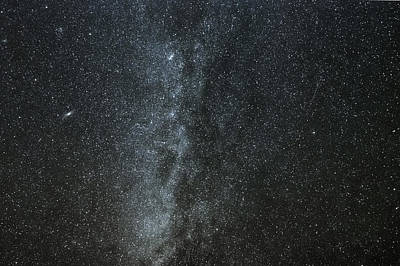 Milky Way With Gemind Meteor Poster