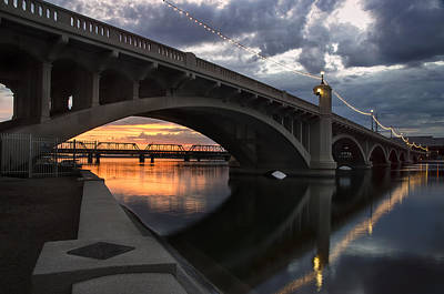 Mill Avenue Bridge Reflections Sunset Poster by Dave Dilli