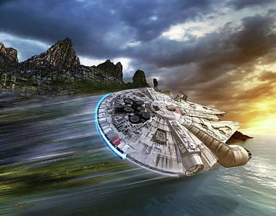 Millenium Falcon In Search Of Luke Poster