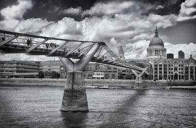 Millennium Bridge - St Pauls Cathedral Poster by Kim Andelkovic