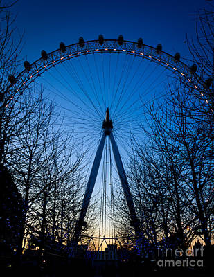 Poster featuring the photograph Millennium Eye London At Twilight by Peta Thames