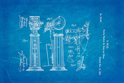 Mills Goodyear Sole Shoe Sewing Machine Patent Art 1869 Blueprint Poster by Ian Monk