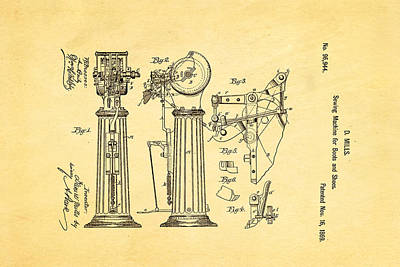 Mills Goodyear Sole Shoe Sewing Machine Patent Art 1869 Poster by Ian Monk